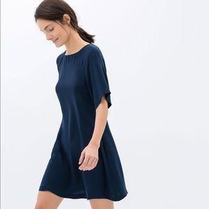 Zara Flowy Navy Casual Shift Dress